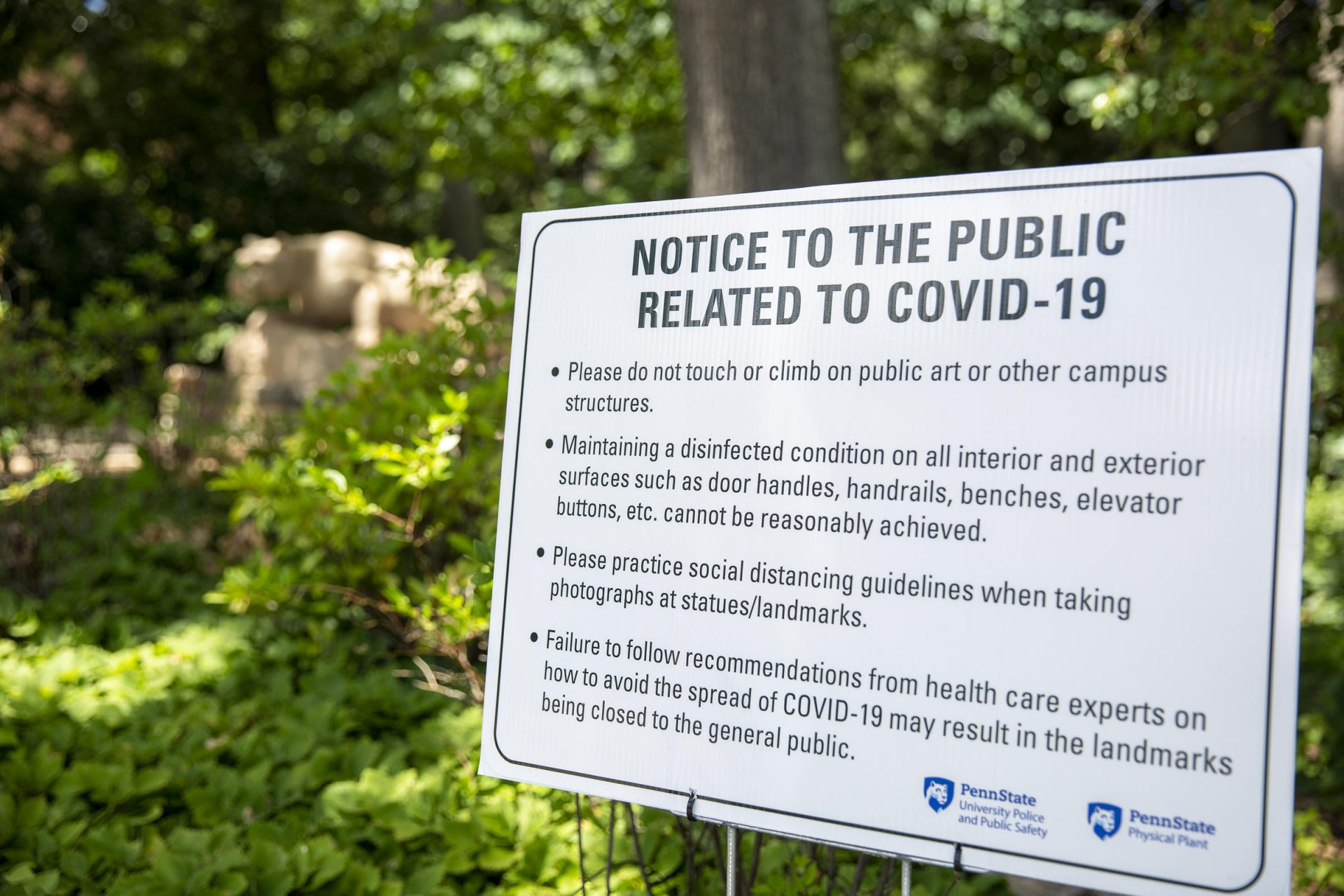 A sign on Penn State's University Park campus outlines some coronavirus precautions.