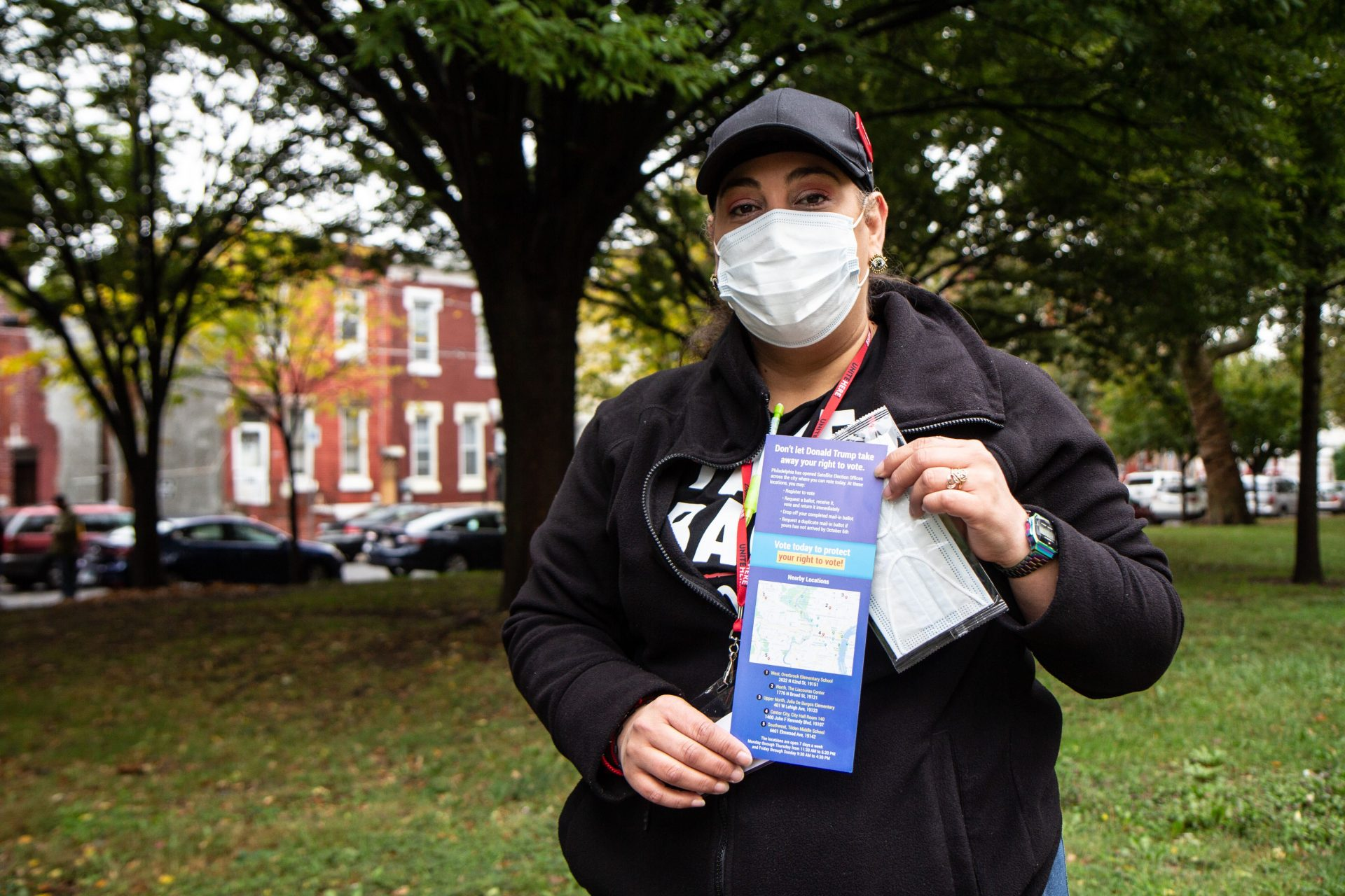 Iris Sanchez is a housekeeper in Atlantic City with Unite Here, out in Philadelphia Monday knocking on doors with information on how to vote.