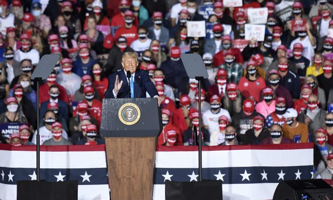 President Donald Trump speaks during a campaign rally at Harrisburg International Airport, Saturday, Sept. 26, 2020, in Middletown.
