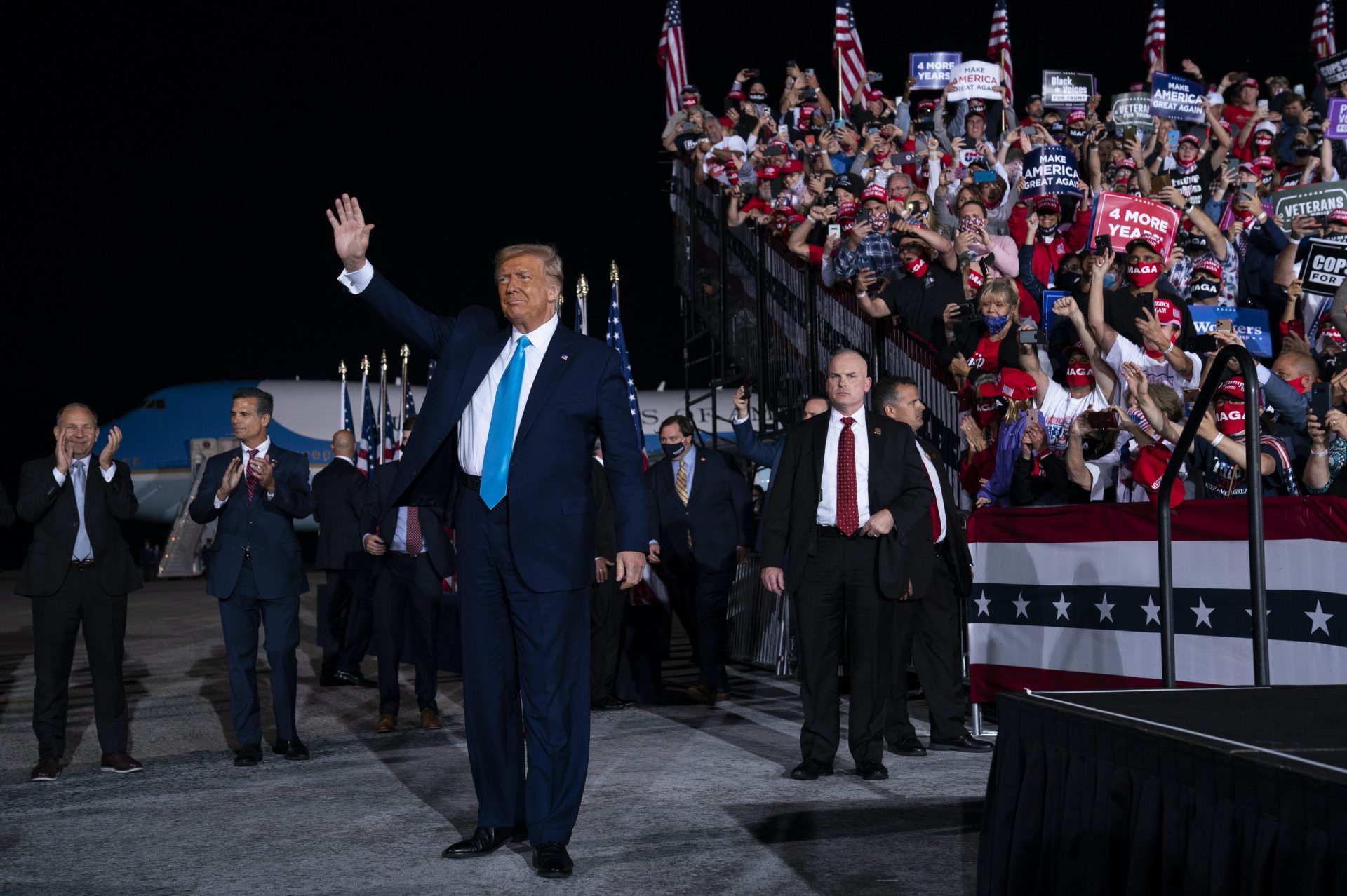 President Donald Trump arrives for a campaign rally at Harrisburg International Airport, Saturday, Sept. 26, 2020, in Middletown, Pa.