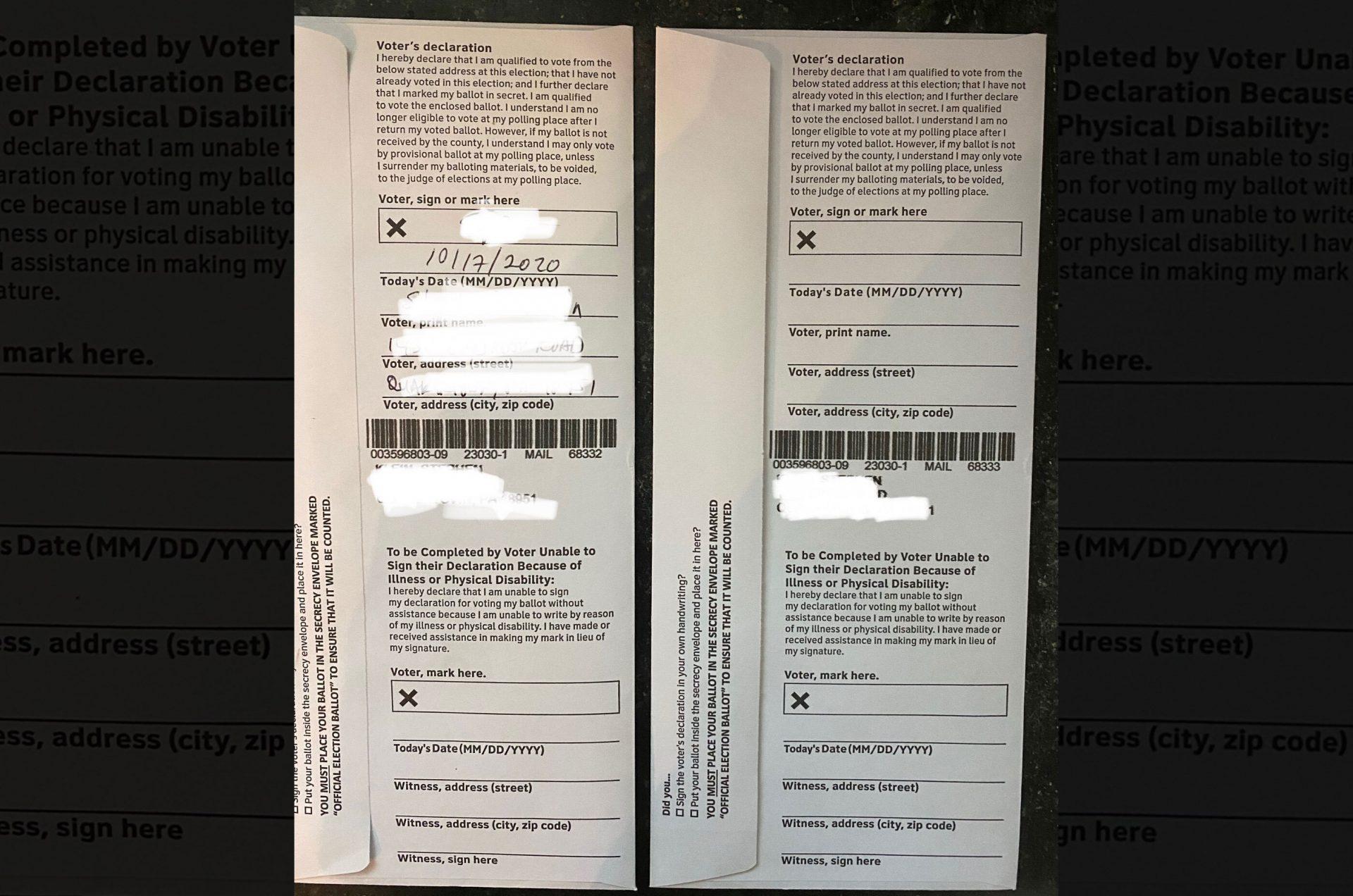 Bucks county voter Stephen Klein's double ballot.