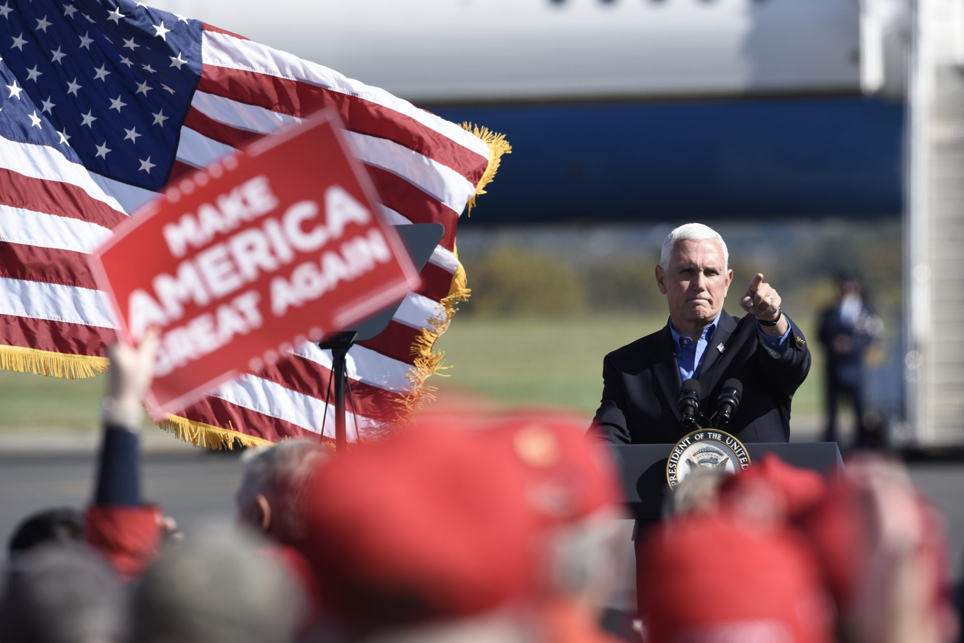 Vice President Mike Pence speaks at a campaign rally held at the Reading Regional Airport, Saturday, Oct. 17, 2020, in Reading, Pa.