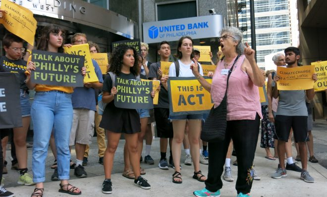 The Sunrise Movement has organized protests like this one in July in Philadelphia to pressure the Democratic National Committee to hold a primary debate focused on climate change.