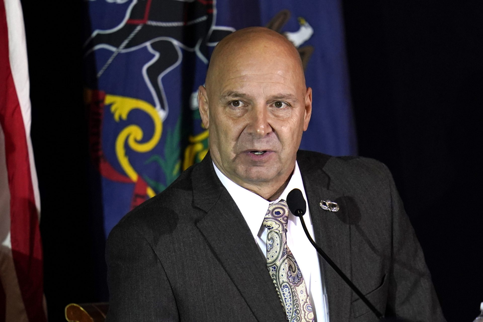Pennsylvania state Sen. Doug Mastriano, R-Franklin, attends a hearing of the Pennsylvania State Senate Majority Policy Committee, Wednesday, Nov. 25, 2020, in Gettysburg, Pa. Mastriano revealed five days later that he has COVID-19.