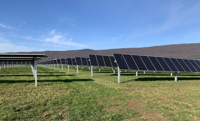 This solar field in Lurgan Township, Franklin County provides power to Penn State. Panels are seen here on Nov. 24, 2020.