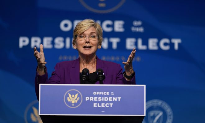 The Biden administration's nominee for Secretary of Energy, former Michigan Gov. Jennifer Granholm speaks at The Queen Theater in Wilmington Del., Saturday, Dec. 19, 2020.