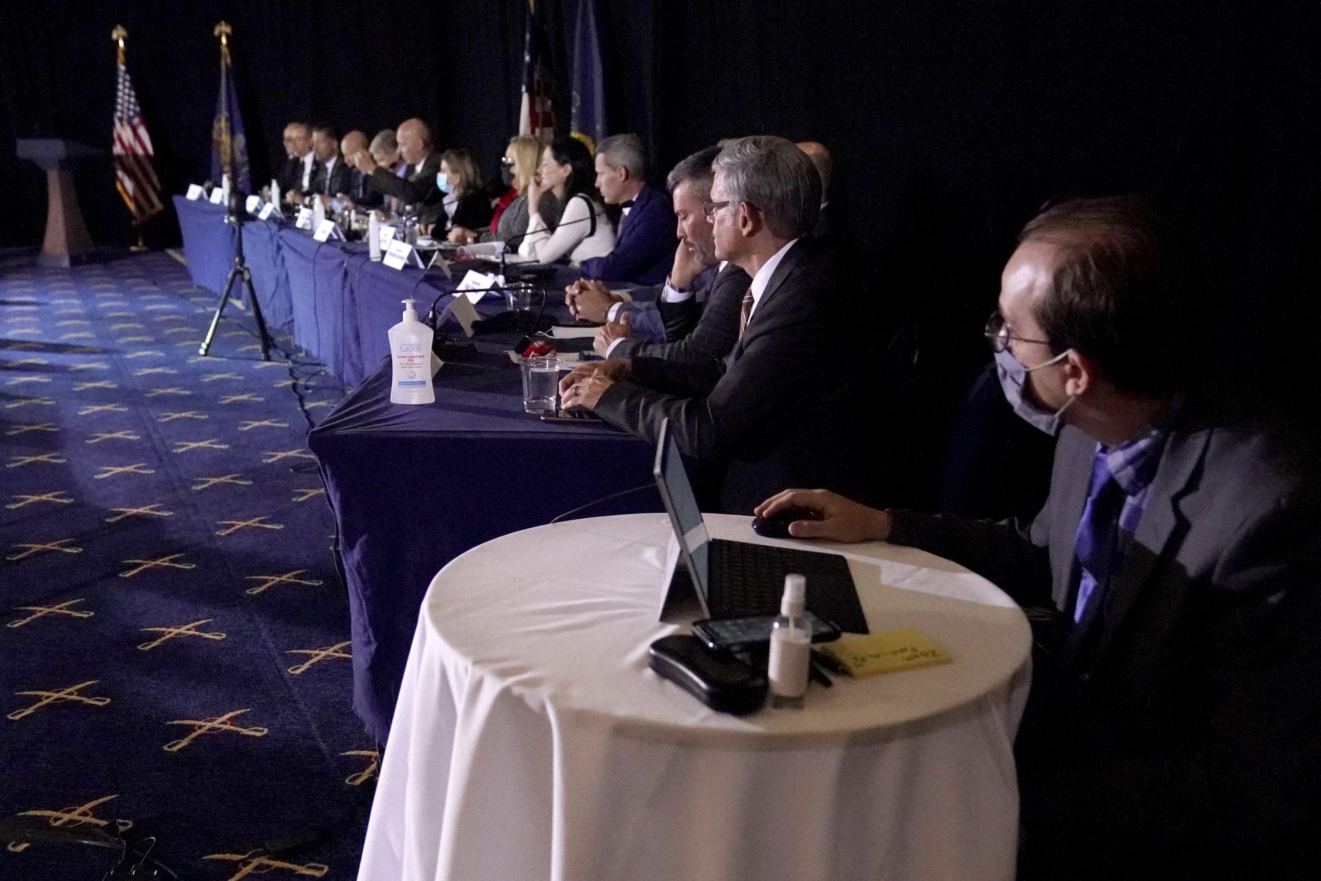 Members of the Pennsylvania State Senate Majority Policy Committee listen to Rudy Giuliani speak, Wednesday, Nov. 25, 2020, in Gettysburg, Pa.