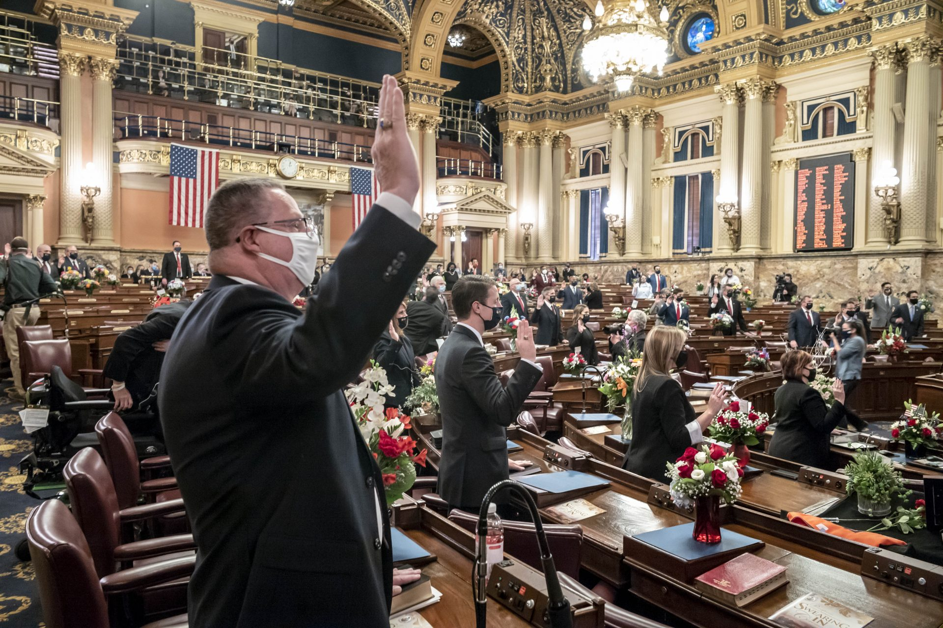 First term legislators of the Pennsylvania House of Representatives are sworn-in, Tuesday, Jan. 5, 2021, at the state Capitol in Harrisburg, Pa. The ceremony marks the convening of the 2021-2022 legislative session of the General Assembly of Pennsylvania.
