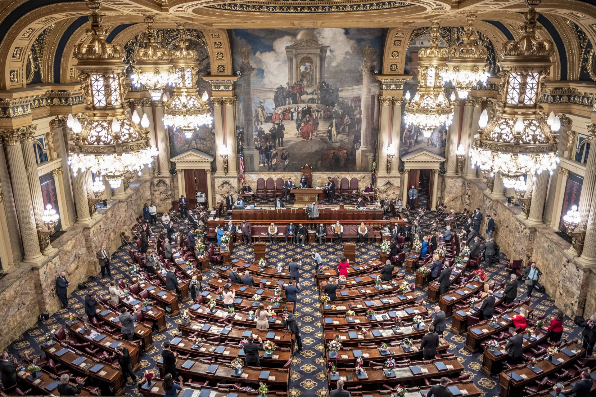 One fourth of the Pennsylvania House of Representatives is sworn-in, Tuesday, Jan. 5, 2021, at the state Capitol in Harrisburg, Pa. The ceremony was held in four separate sessions to provide for social distancing due to COVID-19. The ceremony marks the convening of the 2021-2022 legislative session of the General Assembly of Pennsylvania.