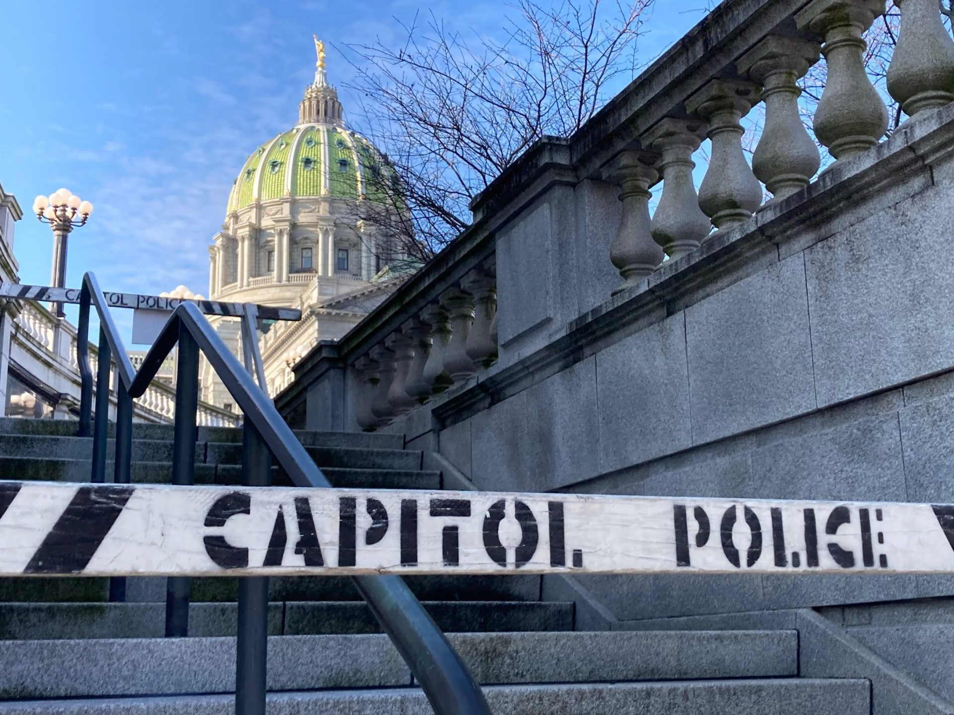 Barricades block stairs at the Pennsylvania Capitol on Jan. 12, 2021.