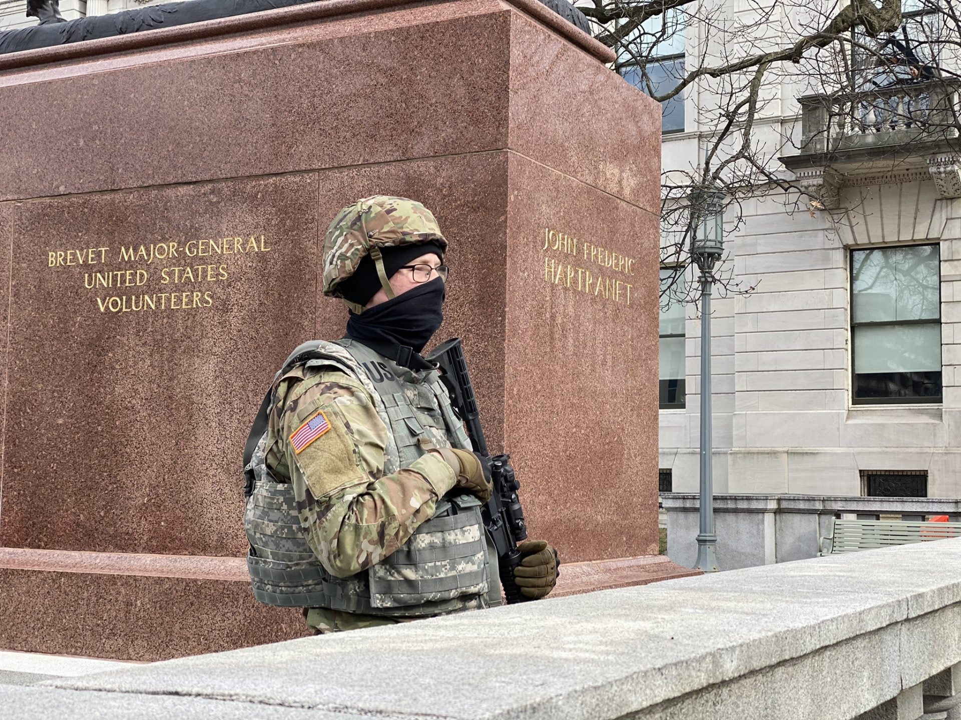 Pennsylvania Army National Guard soldiers protect entrance points around the Pennsylvania Capitol in preparation for possible protests on Sunday, Jan. 17, 2021.