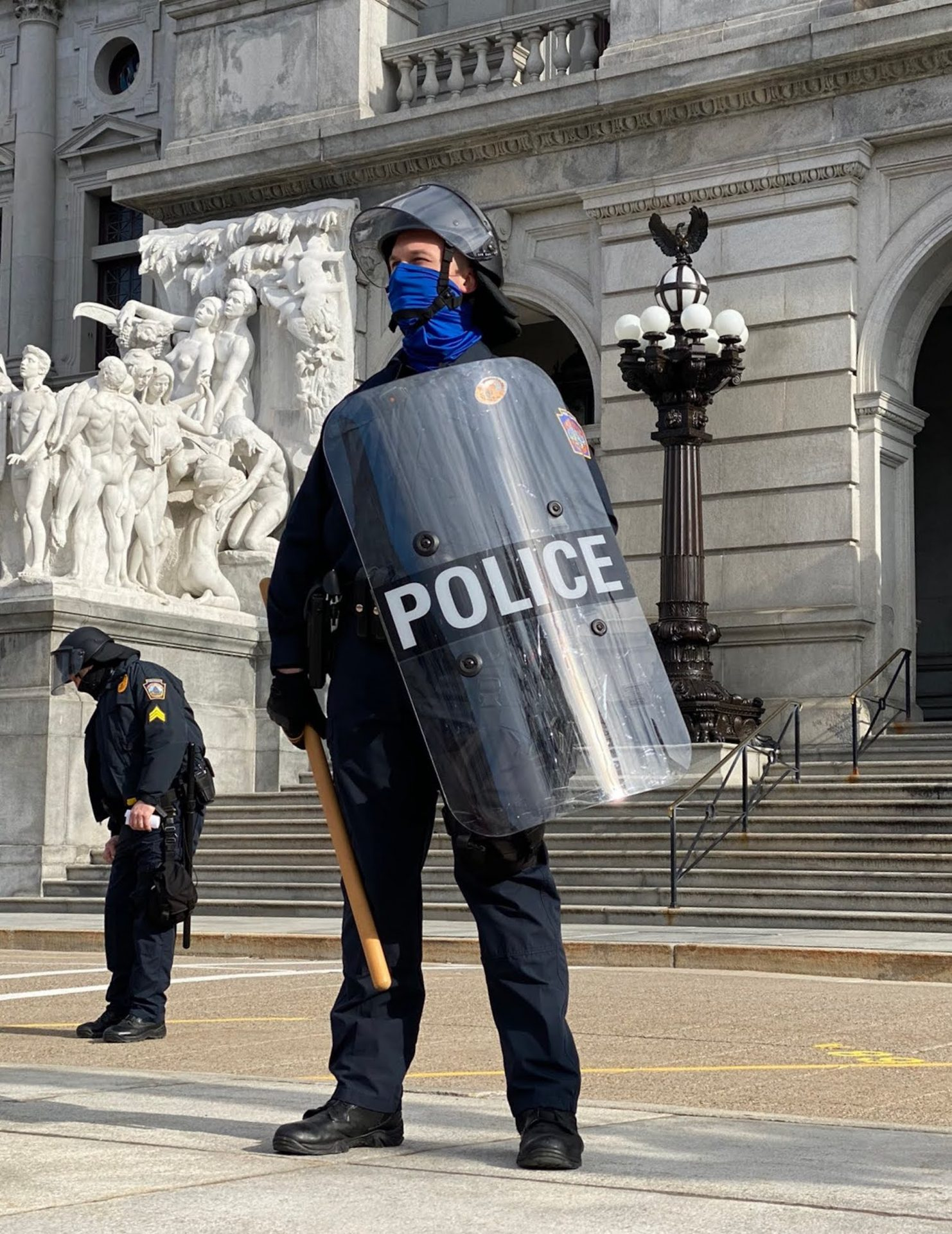 Pennsylvania State Police stand guard outside the Capitol for possible protests on Sunday, Jan. 17, 2021.