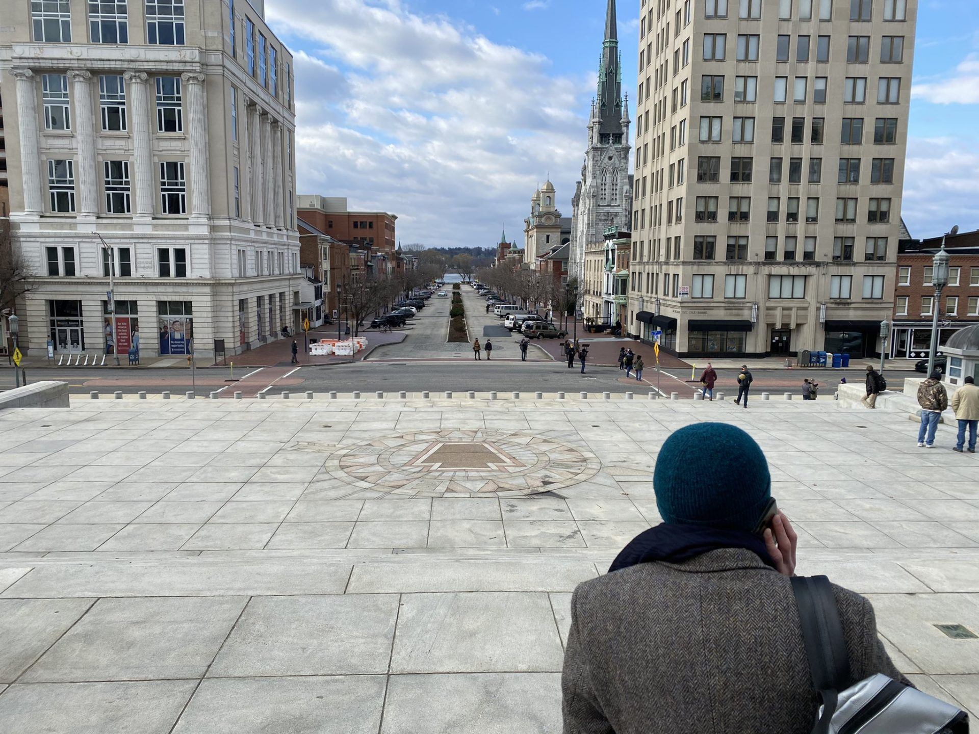 Journalists and police monitor the Pennsylvania State Capitol for possible protests. The scene was quiet as of 11 a.m. Sunday, Jan. 17, 2021.