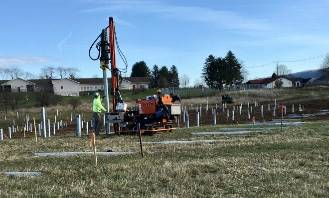 Work on the second phase of the University Area Joint Authority's solar array project outside of State College.