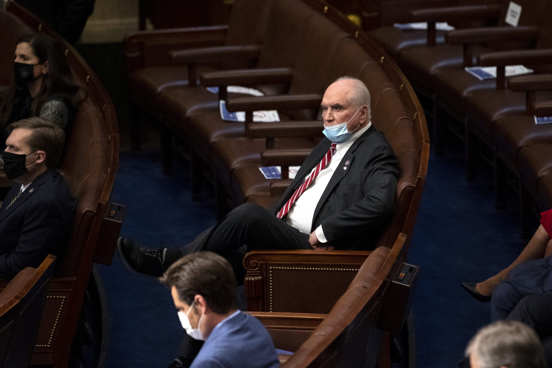 Rep. Mike Kelly, R-Pa., looks on in the House Chamber after they reconvened for arguments over the objection of certifying Arizona's Electoral College votes in November's election, at the Capitol in Washington, Wednesday, Jan. 6, 2021.