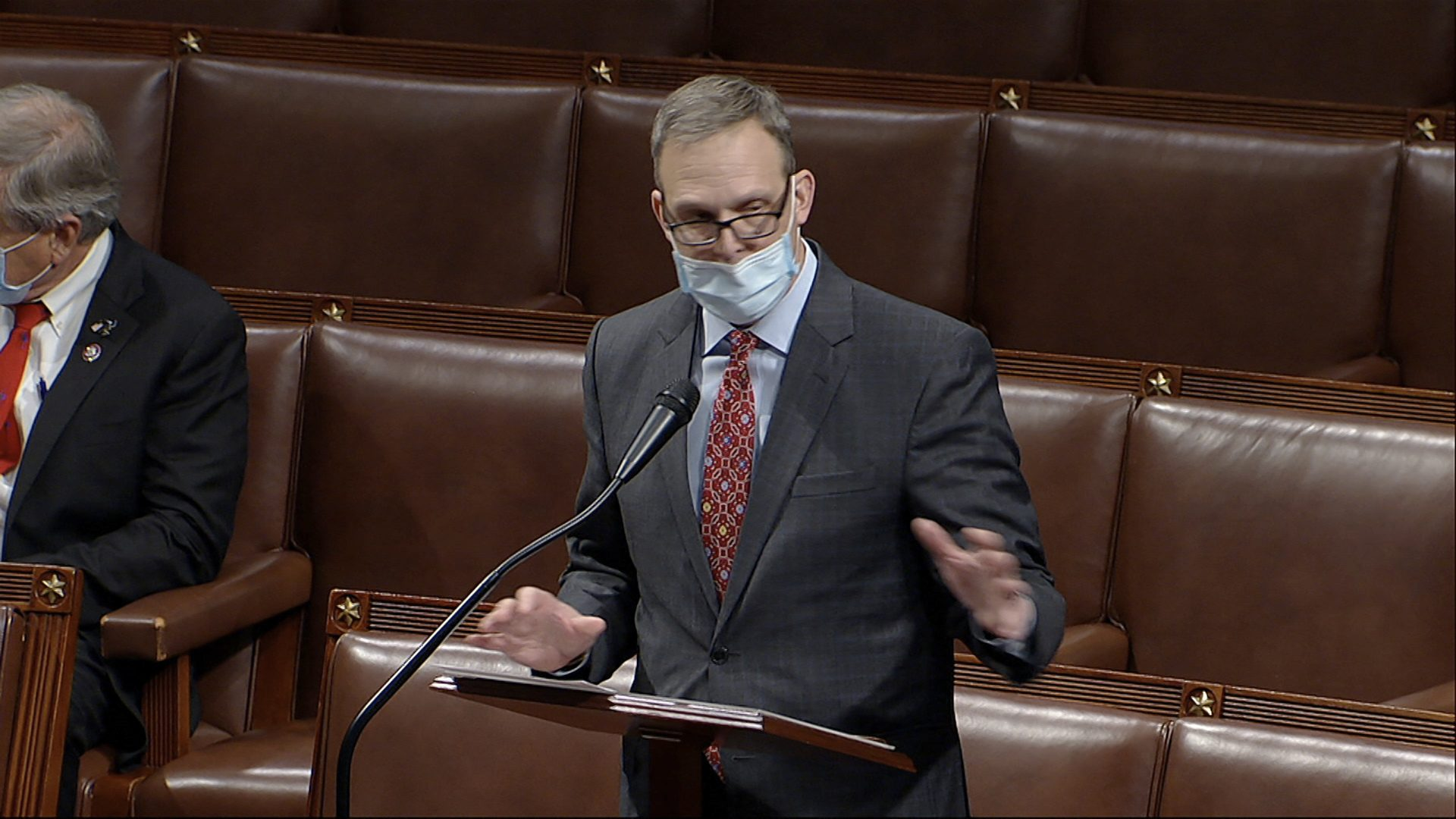 In this image from video, Rep. Scott Perry, R-Pa., speaks as the House debates the objection to confirm the Electoral College vote from Pennsylvania, at the U.S. Capitol early Thursday, Jan. 7, 2021.