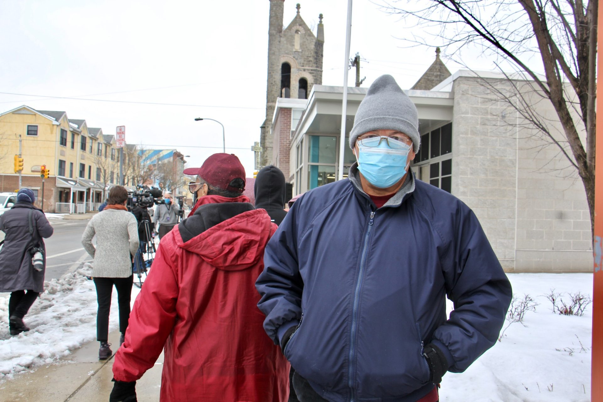 Hector Martinez, 63, waits in line at Philadelphia's first standing city-run COVID-19 vaccination clinic, which opened at the Martin Luther King Jr. Older Adult Center on Cecil B. Moore Avenue, Tuesday, Feb. 23, 2021.