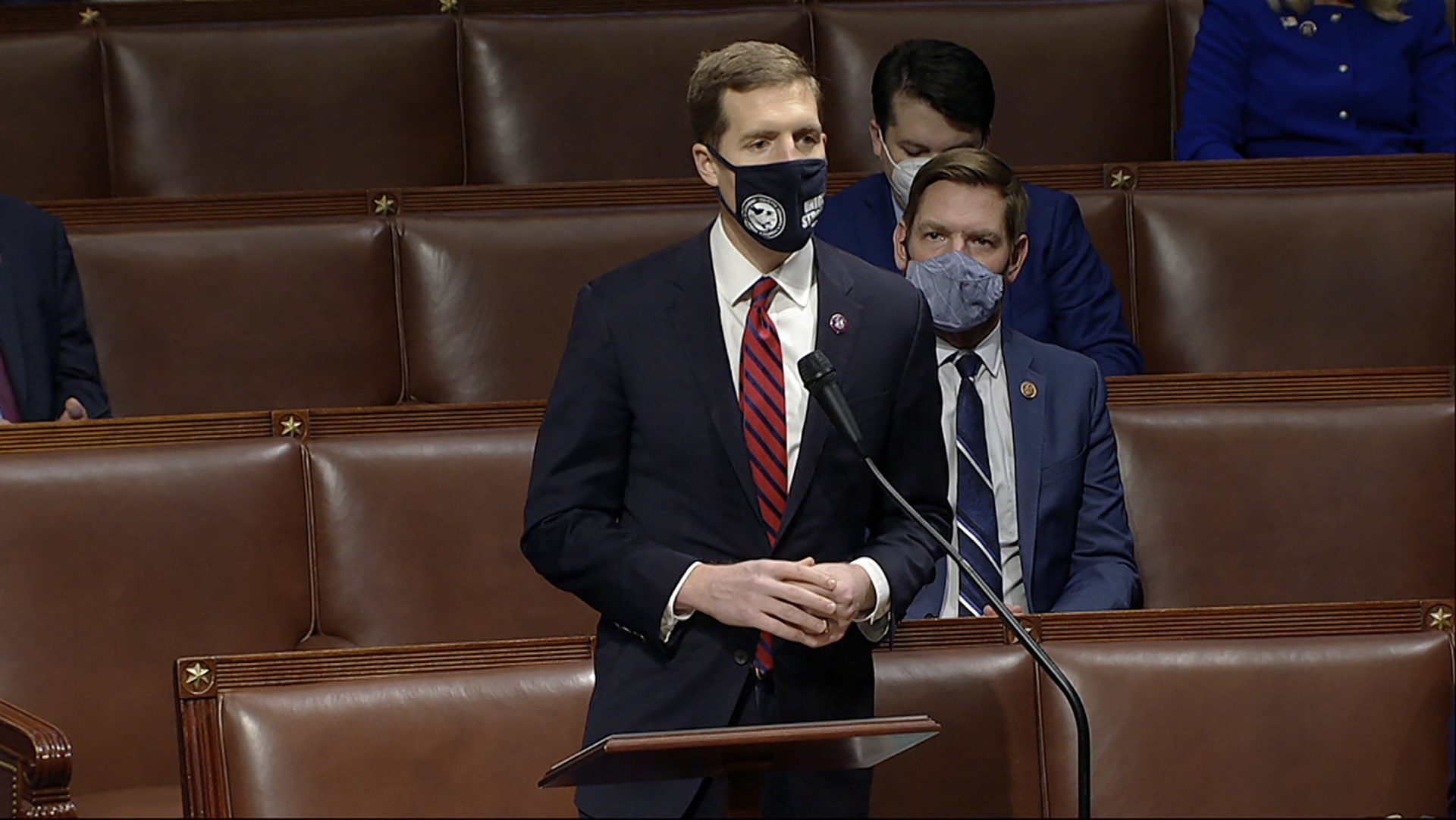 In this image from video, Rep. Conor Lamb, D-Pa., speaks as the House debates the objection to confirm the Electoral College vote from Pennsylvania, at the U.S. Capitol early Thursday, Jan. 7, 2021.