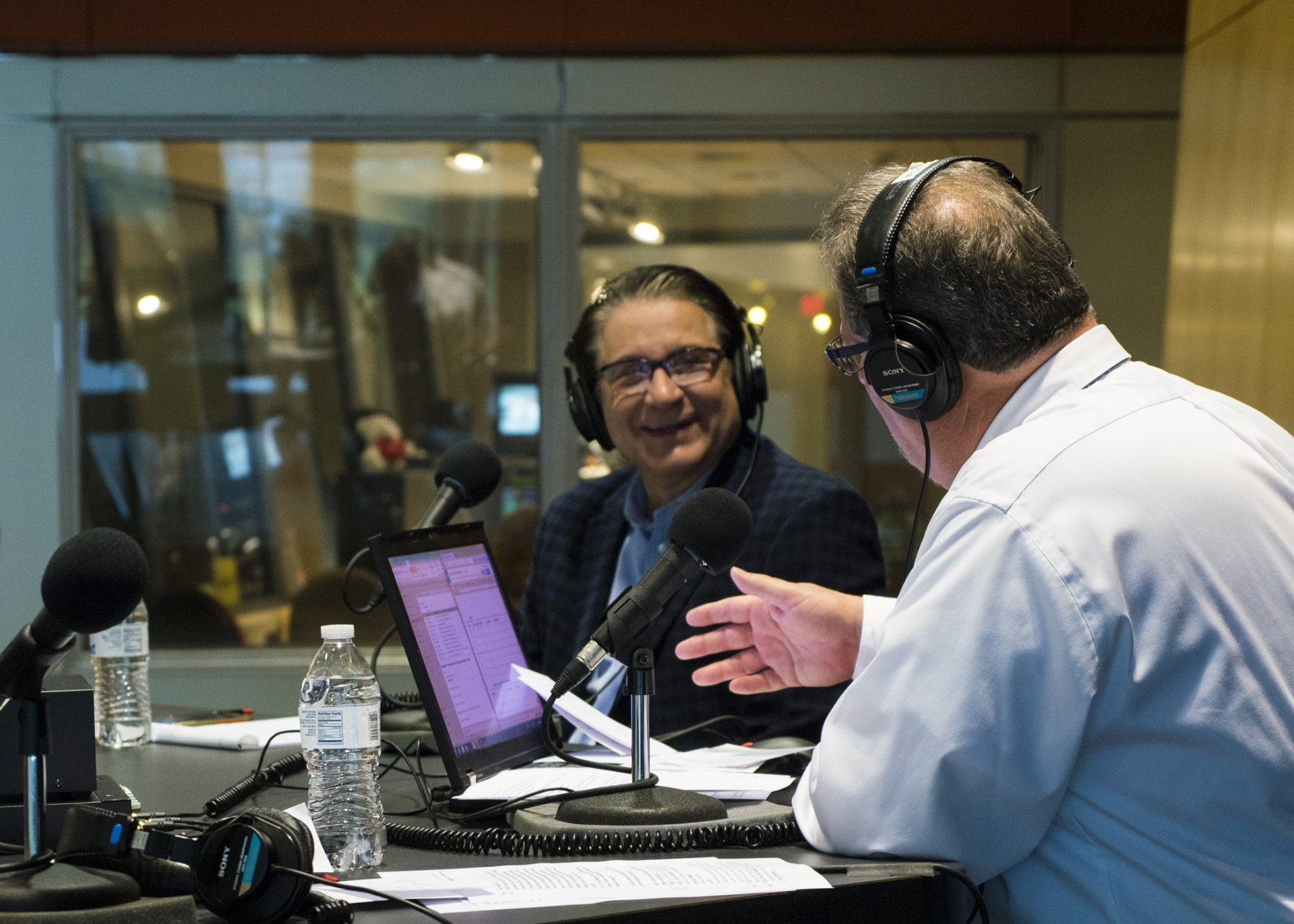Scott LaMar speaks with G. Terry Madonna during a live event on election night Nov. 9, 2016.