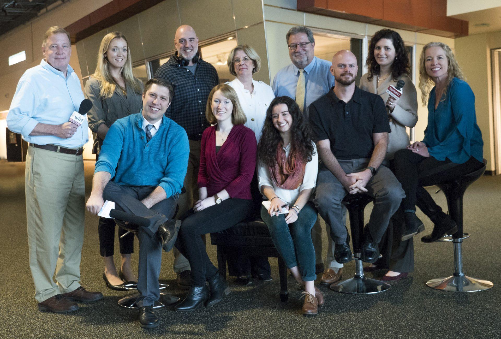 The WITF news team in October 2017. Clockwise from top left: Craig Rhodes, Emily Previti, Tim Lambert, Kathleen Pavelko, Scott LaMar, Marie Cusick, Cara Williams Fry, Joe Ulrich, Katie Meyer, Rachel McDevitt and Brett Sholtis.