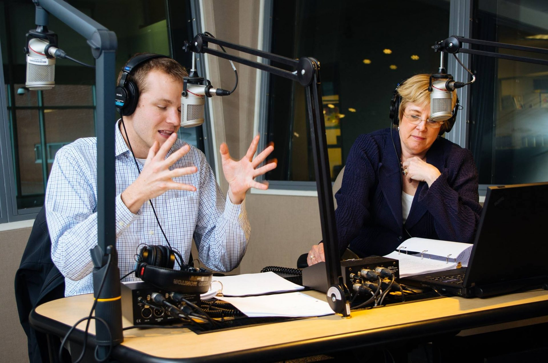 Transforming Health reporter Ben Allen and WITF President and CEO Kathleen Pavelko during a pledge break in April 2016.