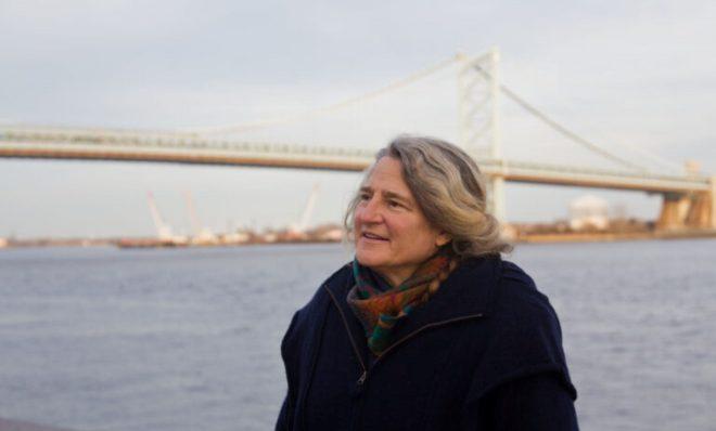 Stacy Levy, eco-artist, at Penn's Landing in Philadelphia.