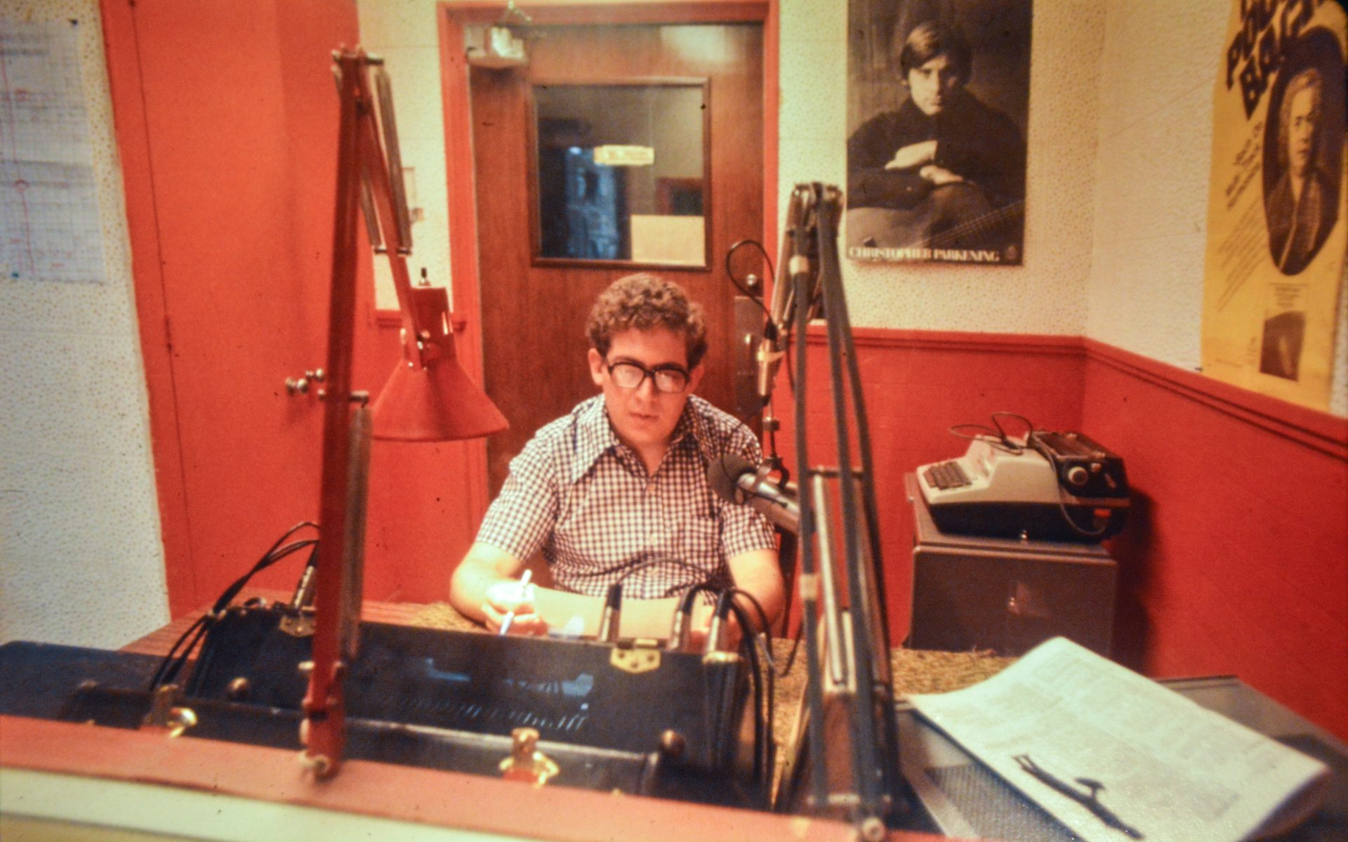An unidentified WITF employee in the mix-down room in the Hershey building. Suspected pre-1978.
