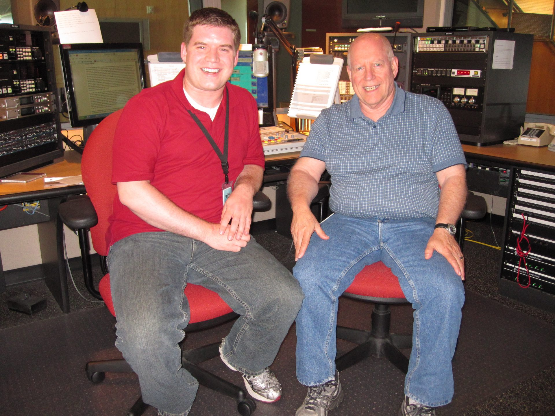 Craig Layne and his father, John Layne, together in the WITF master control room.