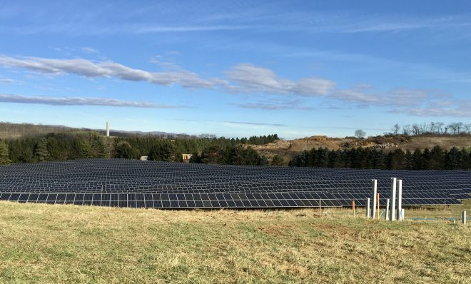 Solar panels that are part of the University Area Joint Authority's solar array in Centre County, Pennsylvania.