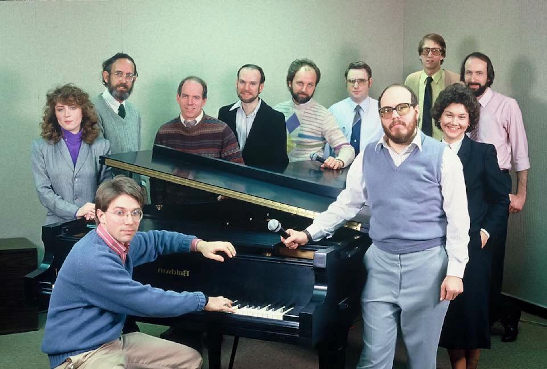 The WITF-FM staff in the late 1980s.