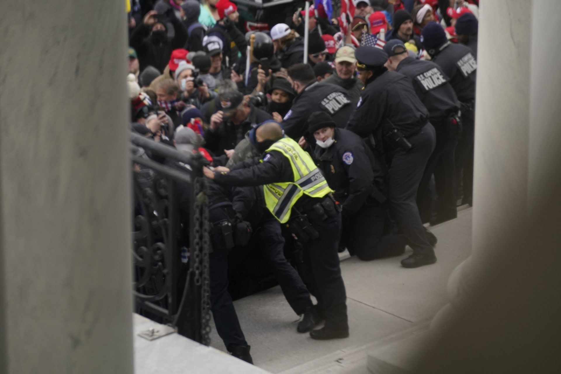 U.S. Capitol Police try to hold back rioters outside the U.S. Capitol, Wednesday, Jan 6, 2021.