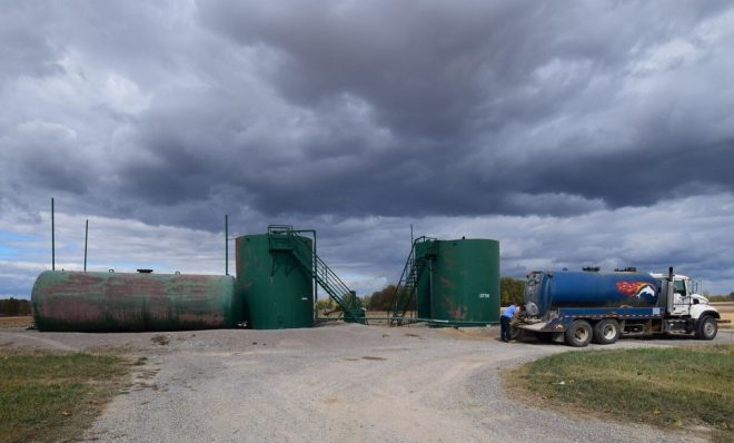 A truck carrying fracking wastewater at an injection well in Morrow County, Ohio in 2015.