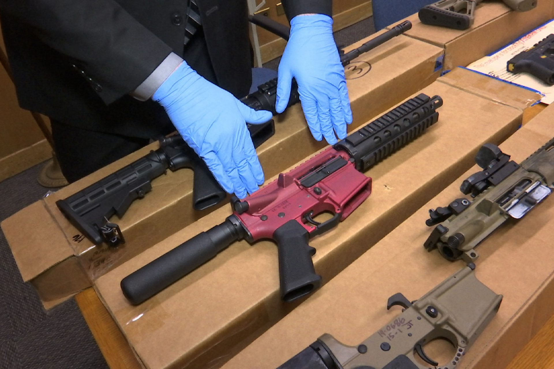"n this photo taken Wednesday, Nov. 27, 2019, is Sgt. Matthew Elseth with ""ghost guns"" on display at the headquarters of the San Francisco Police Department in San Francisco."