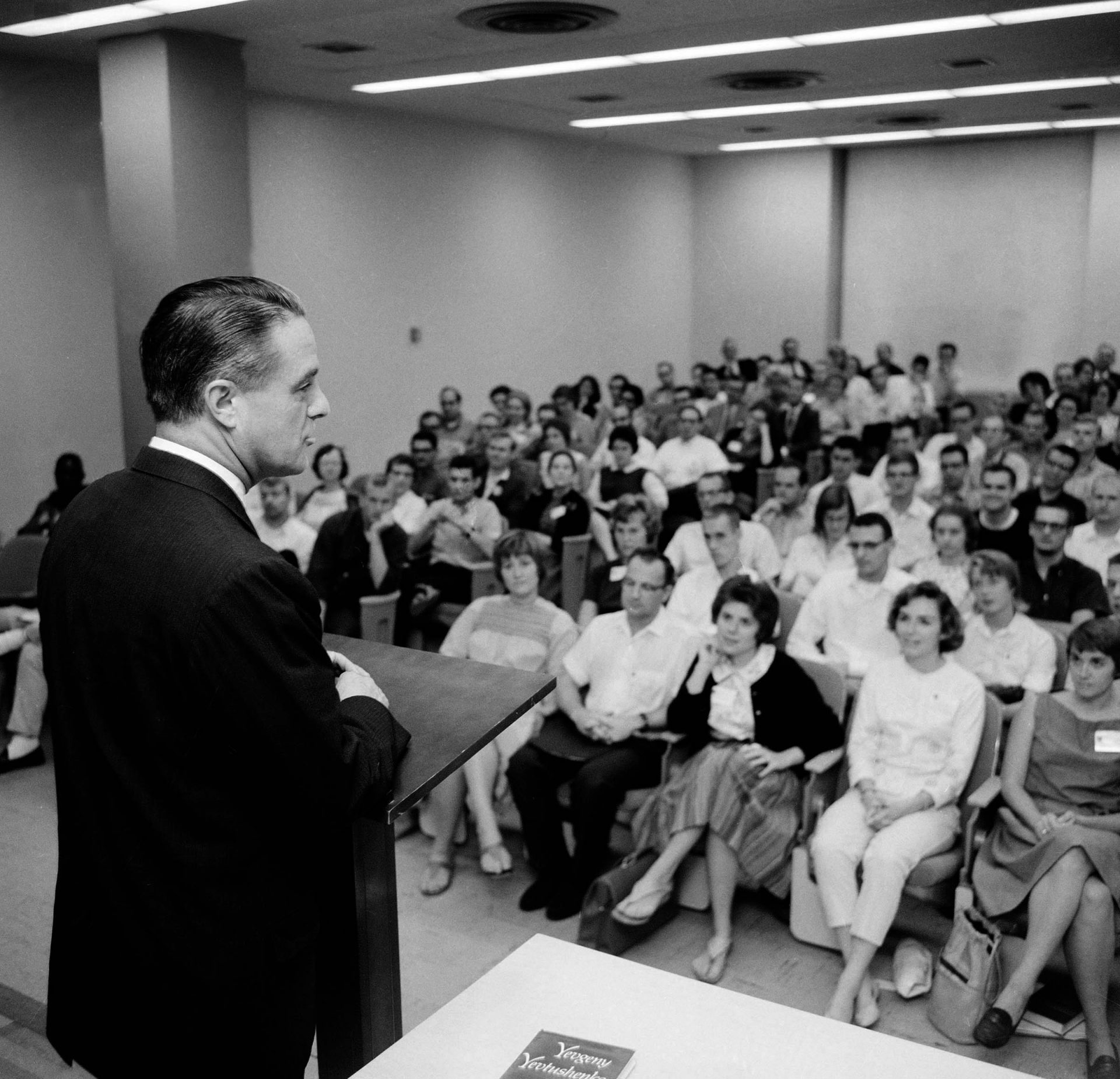 Sargent Shriver, director of the Peace Corps, addresses a group of 200 young men and women nearing completion of a nine-week course to prepare them for service in Nigeria, at Columbia University in New York City, Aug. 19, 1963. Graduates of the course will leave New York for Nigeria on Sept. 10.