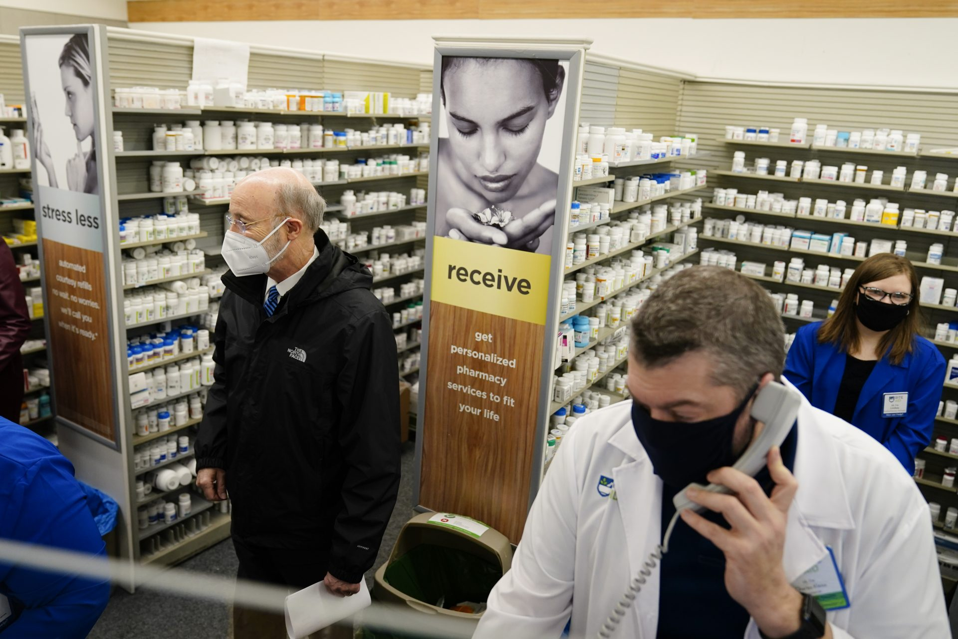 Gov. Tom Wolf tours a Rite-Aid pharmacy in Steelton, Pa., that is administering COVID-19 vaccinations, Friday, March 5, 2021.