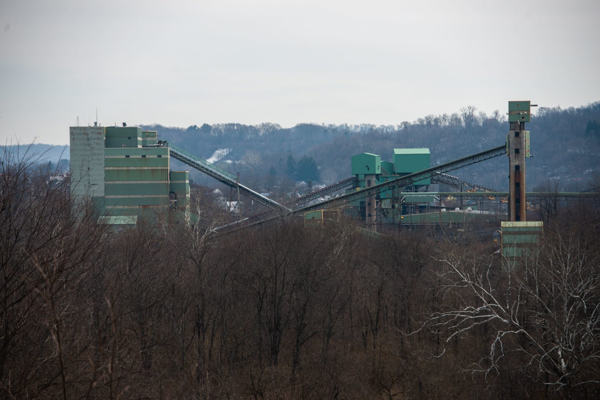 Towering remnants of the abandoned coal mine known as Emerald Mine are seen on the outskirts of Waynesburg in Greene County.
