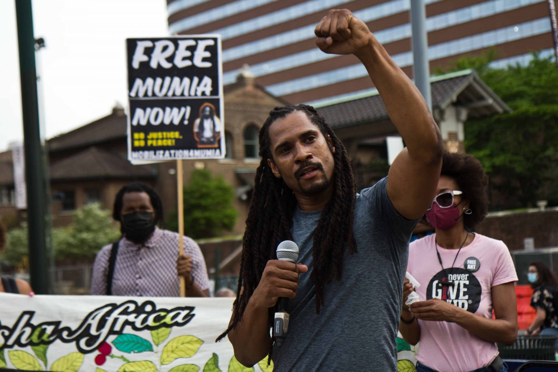 Mike Africa, joined by BLM Philly and the Black Philly Radical Collective and supporters protested outside the Penn Museum on April 28, 2021, over the museum's mistreatment of the remains of children Tree and Delisha Africa who were killed when Philadelphia police bombed the MOVE Organization's headquarters in 1985.