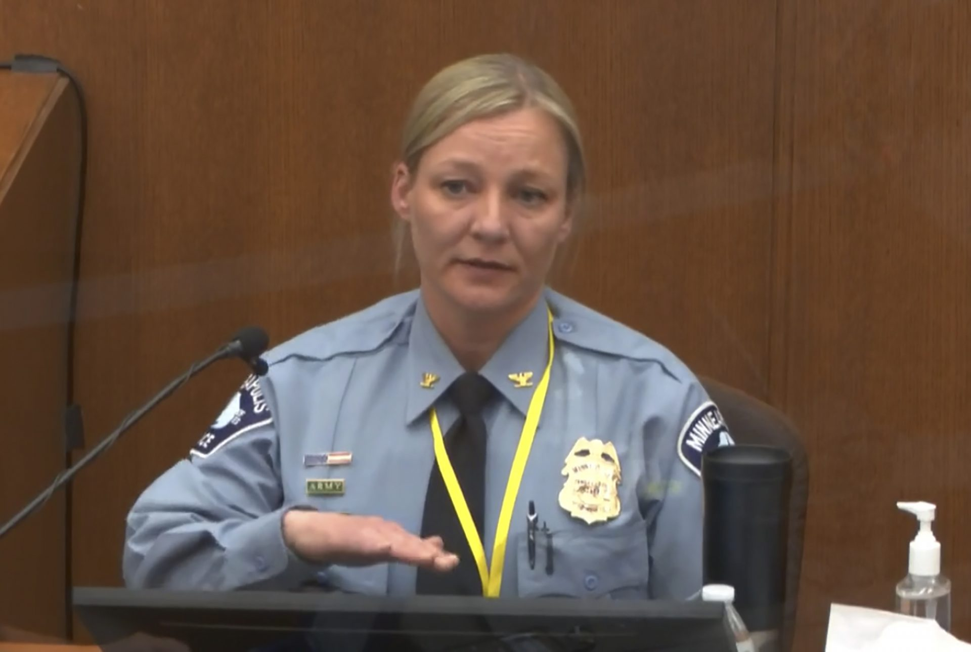 In this image from video, Minneapolis Police Inspector Katie Blackwell testifies as Hennepin County Judge Peter Cahill presides Monday, April 5, 2021, in the trial of former Minneapolis police Officer Derek Chauvin at the Hennepin County Courthouse in Minneapolis, Minn. Chauvin is charged in the May 25, 2020 death of George Floyd.