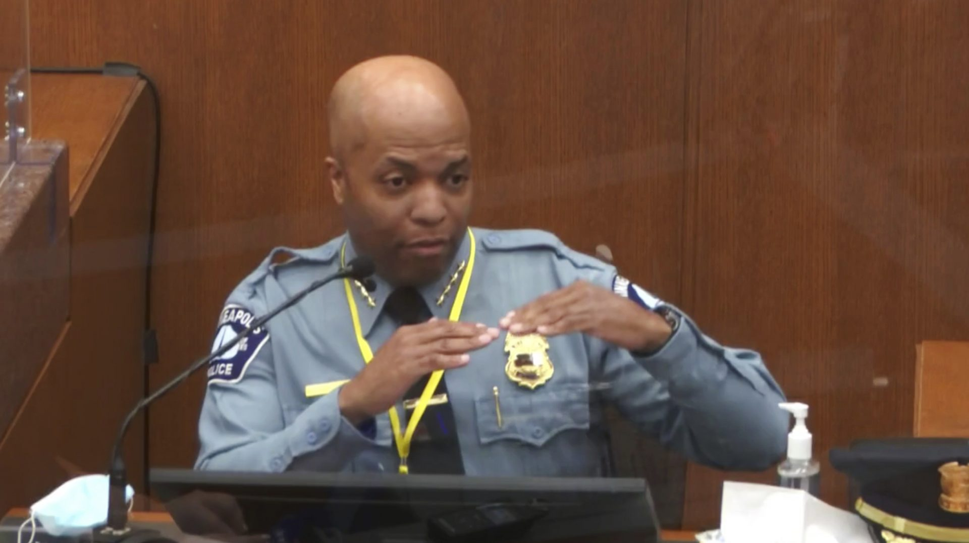 In this image from video, witness Minneapolis Police Chief Medaria Arradondo testifies as Hennepin County Judge Peter Cahill presides Monday, April 5, 2021, in the trial of former Minneapolis police Officer Derek Chauvin at the Hennepin County Courthouse in Minneapolis. Chauvin is charged in the May 25, 2020 death of George Floyd.
