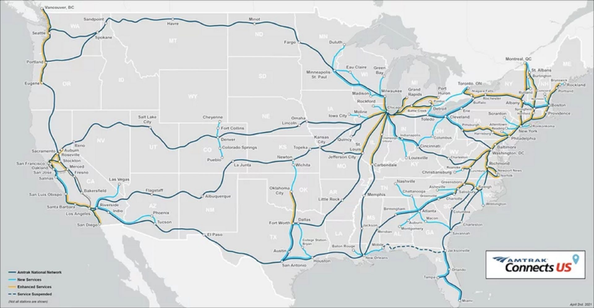Amtrak has proposed a plan for new and enhanced rail connections across the United States