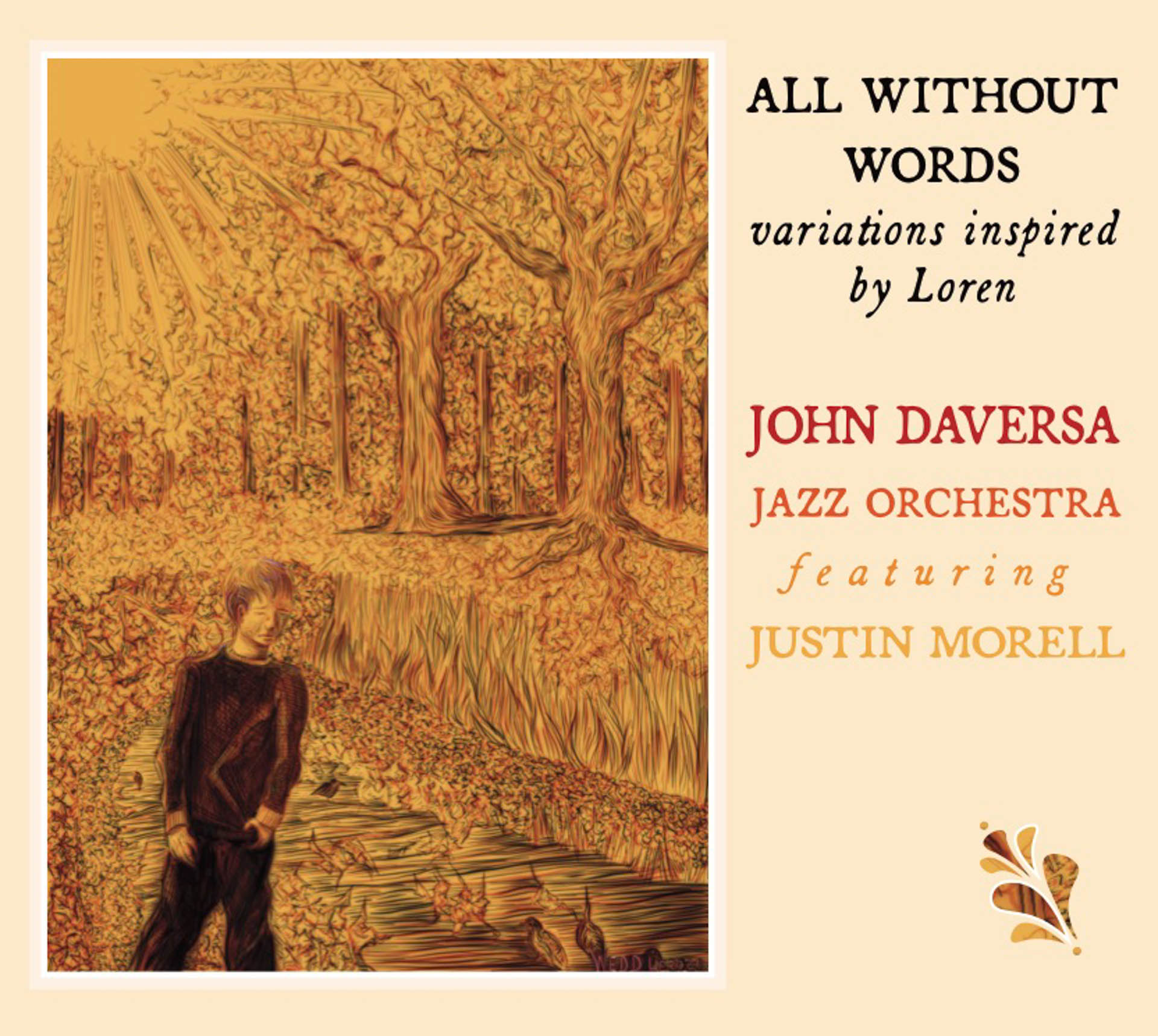 The cover art for All Without Words. A painting of a boy walking in the woods.