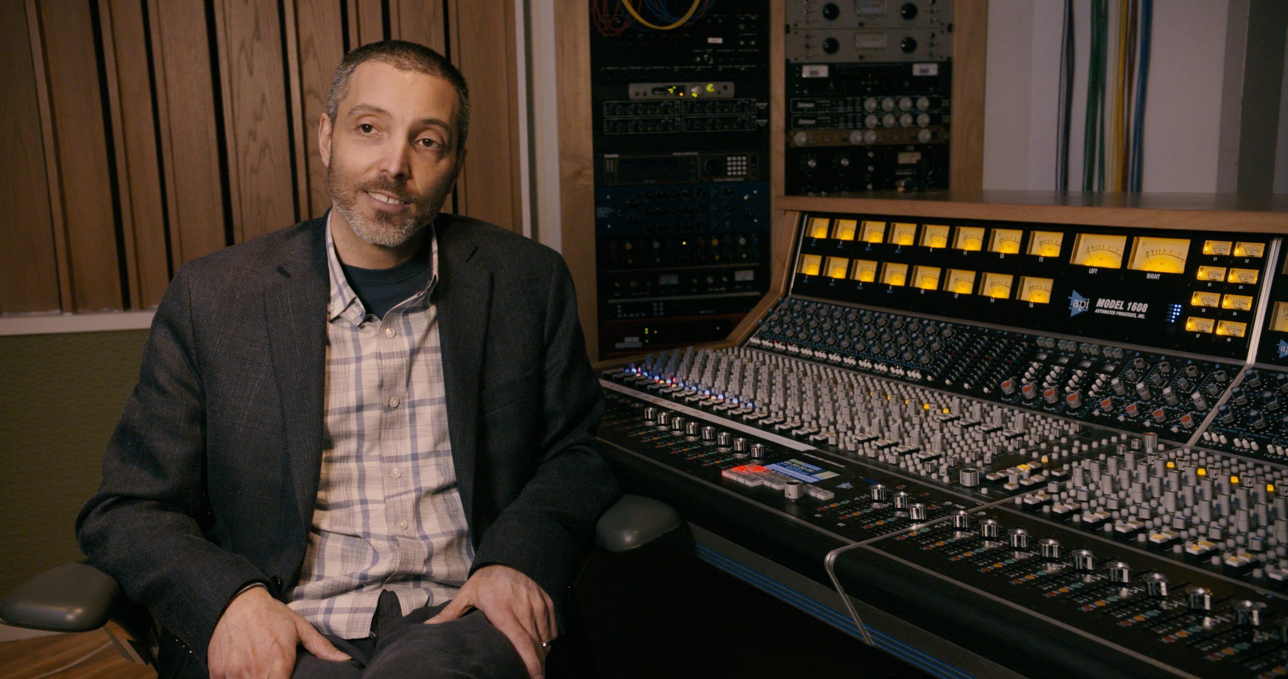 Composer Justin Morell in the recording studio.