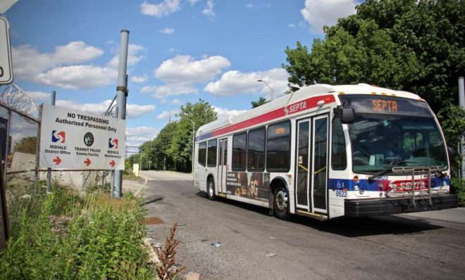 A bus leaves the Midvale depot in Nicetown, where SEPTA operates a natural gas burning generation plant.