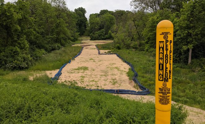 There have been dozens of construction problems at the site where the Mariner East pipeline crosses Snitz Creek in Lebanon County. The area is seen here on June 1, 2021.