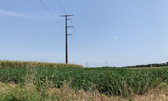 Transmission lines stretch through farm fields in Chanceford Township, York County on Sept. 13, 2021.
