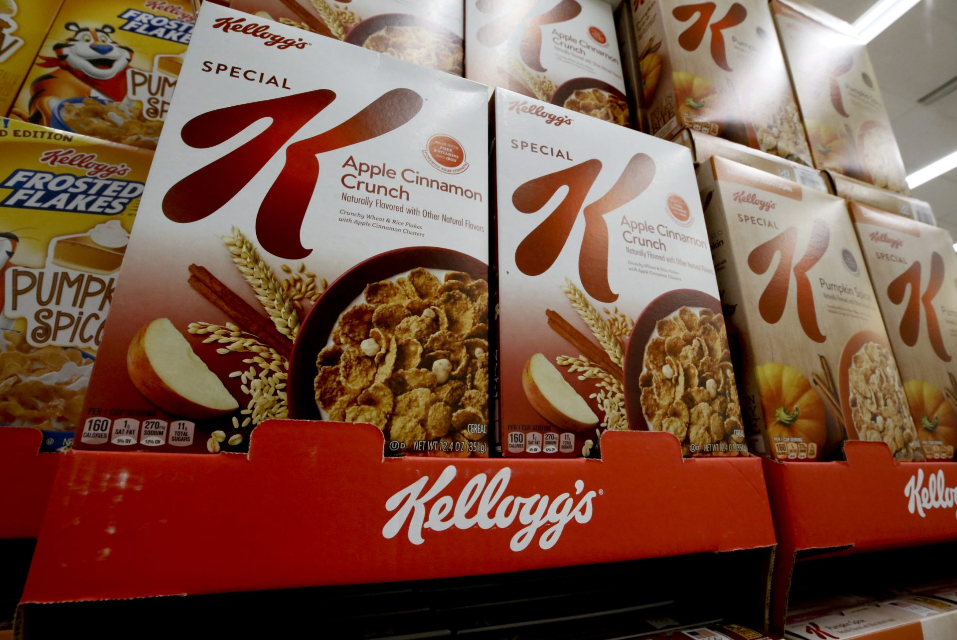 In this Aug. 8, 2018, file photo boxes of Kellogg's Special K cereal sit on display in a market in Pittsburgh. Kellogg Co. reports financial results Thursday, Aug. 1.